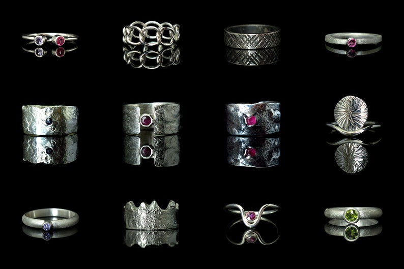 for men and women handmade Statement rings. Chunky Solid Industrial Ring: heavy hammered checkered ring with polished finish