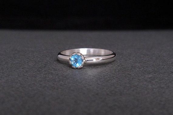 genuine Topaz ring. London Blue Topaz Ring: Sterling silver ring with Topaz bezel set Topaz ring Topaz solitaire handmade Topaz ring