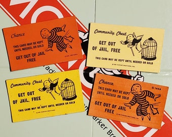 Upcycled Monopoly Get Out of Jail Free Card Magnets Yellow and Orange