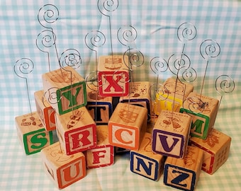 Upcycled Wooden Toy Alphabet Number Building Block Place Card Holder Photo Holder Pick Baby Shower Table Nursery Kids Room Decor
