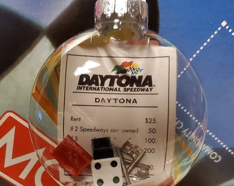 NASCAR Monopoly Upcycled Game Piece Ornament 100mm Shatterproof Disc CUSTOMIZABLE (Hook Optional) Read Item Description