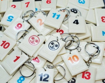Upcycled Rummikub Tile Keychains