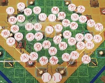 MLB Scrabble Upcycled Plastic Baseball Tile Earrings