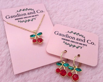 Cherry Necklace 2 , Cherries, Cherry, gold Necklace, Gold Cherry, Cherry Earrings, stainless steel, cherry hoops, Red Cherry