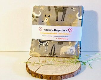 Zero waste wipes for babies: batch of 5 or 10 large bamboo and cotton exchange squares