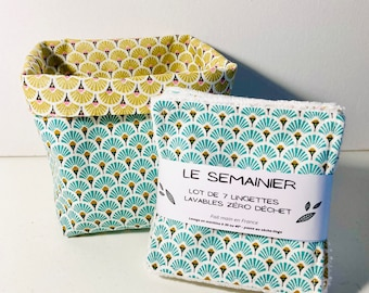 Lot of 7 washable make-up remover wipes, with or without matching basket