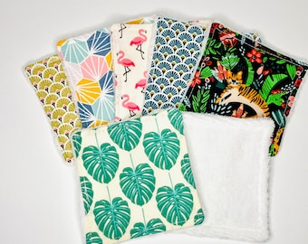 Lot mix of 7 make-up remover wipes washable in different colors, with or without matching basket