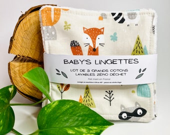 Zero waste wipes for baby: batch of 5 or 10 large squares of bamboo and cotton exchange