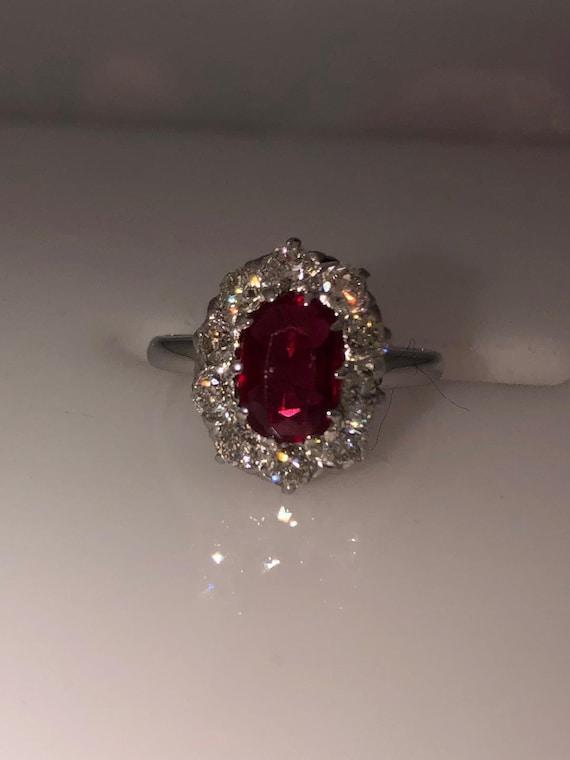 1920s Vintage 18KT White Gold Diamond Ruby Ring, V