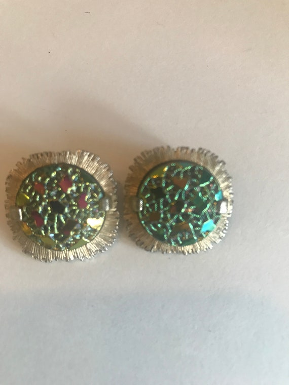 Vintage Collectible Signed Judy Lee Triangle Orange and Green Stone Clip On Earrings Mod Retro SHIPS FREE Irish Ireland