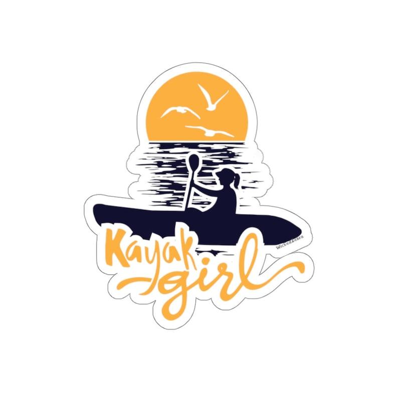 Kayak Girl Sunrise Kayaking Sticker