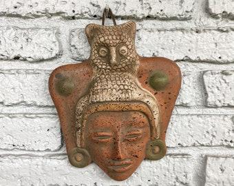 Owl God Clay Art Latin American Ethnic Decor Rustic Primitive Southwestern Ranch LatinX Boho Bohemian Mexican Mayan Aztec Terra Cotta Wisdom