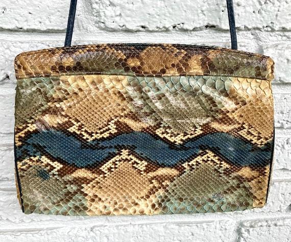 70s Snakeskin Crossbody Bag Envelope Clutch or Sho