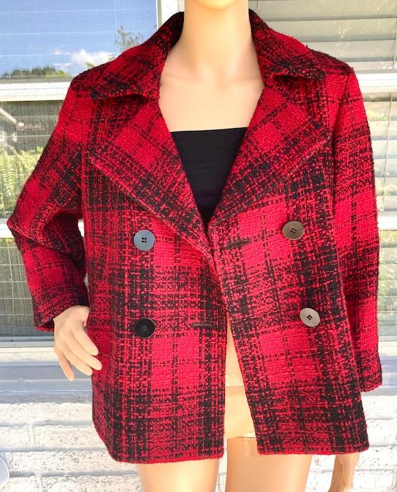 L Wool Boucle Blazer Tweed Peacoat by Talbots Dou… - image 3