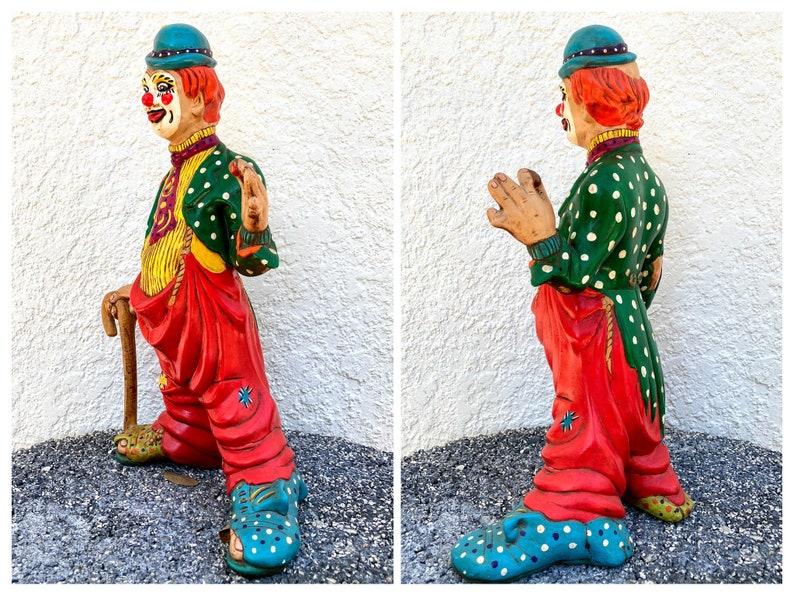 15 Large Clown Sculpture Circus Memorabilia Hand Painted Fear of Clowns Gift Shelf Office Desk Kitsch Creepy Decor Coulrophobia Stupidus