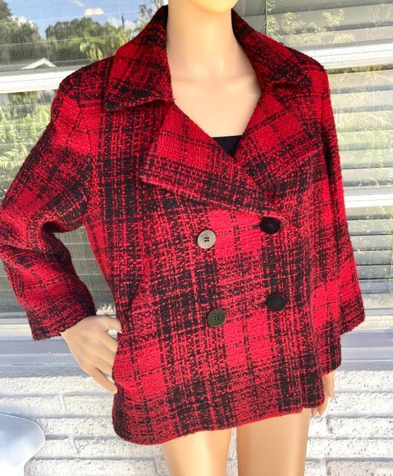 L Wool Boucle Blazer Tweed Peacoat by Talbots Dou… - image 2
