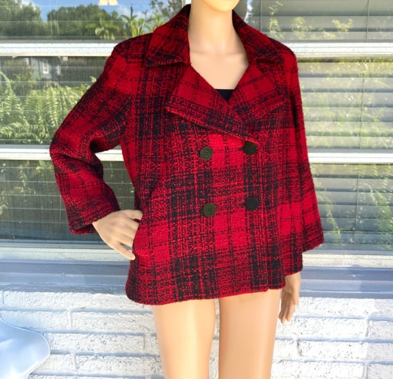 L Wool Boucle Blazer Tweed Peacoat by Talbots Doub
