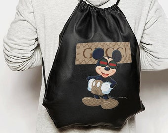 23afc7feccbf35 Gucci Unisex Bag Brand Backpack Mickey Mouse Shoulder Bag Disney Gucci  Handmade Backpack Fashion Crossbody Rucksack Gucci Logo Disney MS0182