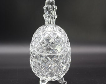 Vintage Crystal Pineapple Candy Dish/ Crystal Pineapple Lidded Dish/Tropical Crystal Dish