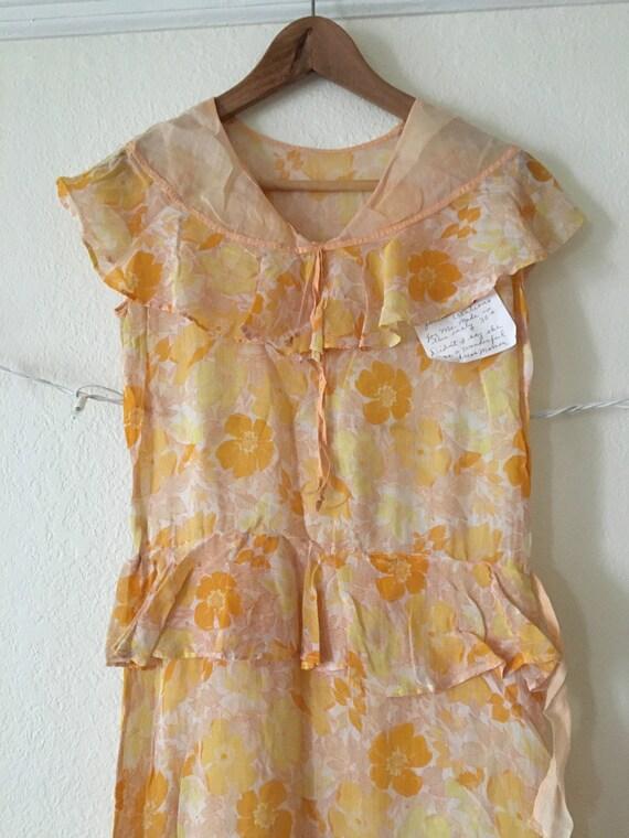 1930's Floral Print Cotton Summer Dress