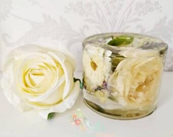 Preserved Flower Wedding Memento Funeral Flower Tie Clip Memorial Jewelry