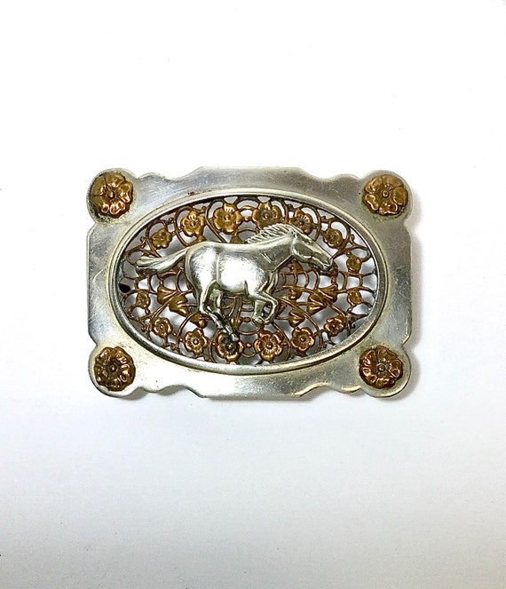 Stallion & Roses belt buckle - image 2