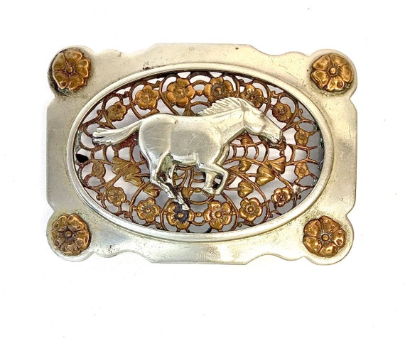 Stallion & Roses belt buckle - image 1