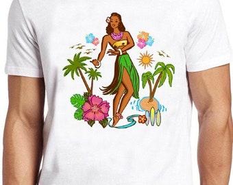 e1d231d4 Hula Girl T Shirt Hawaiian Surfing Sailing Nautical Aloha Cool Gift Tee 115