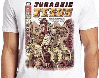 Jurassic Jesus T Shirt Funny Pun Dinosaur Religious Joke Cool Gift Tee 410