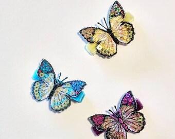 Ein Schönes Metall Schmetterling Mini Haarklemme für Haar mit Rosa Strass Steine