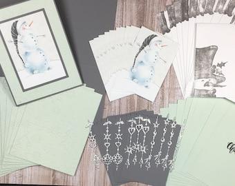 Snowman in Gray Christmas Card Kit, DIY Christmas Cards, Christmas Card Kit, DIY Card Kit, Handmade Christmas Cards, Handmade Snowman