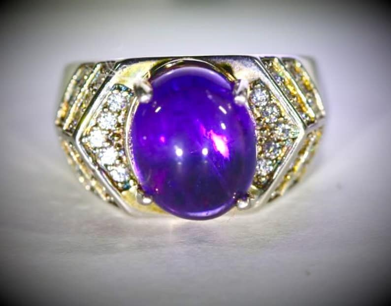 February Birthstone, Amethyst Ring Natural and Untreated Amethyst 4.60ct Platinum Finish Solid 925 Sterling Silver Ring Ring Size 7.25