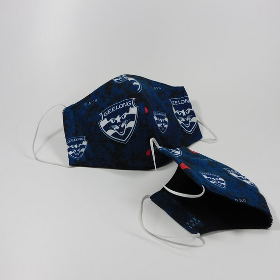 Afl Footy Reusable Face Masks Geelong Cats Etsy
