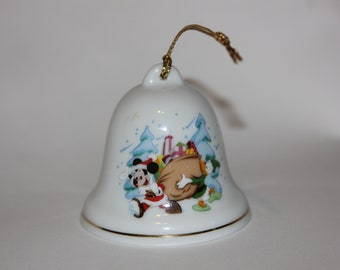 Porcelain And Crystal Bell *** Ivory China ***  Gold Trim ***  1998/'s LENOX DONALD DUCK  Disney Bell