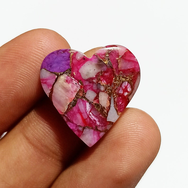 Pink Purple Copper Turquoise Cabochon  Top Grade Pink Turquoise Gemstone  High Quality  Heart Shape  12.5 Ct  21x21x3mm Loose Gemstone