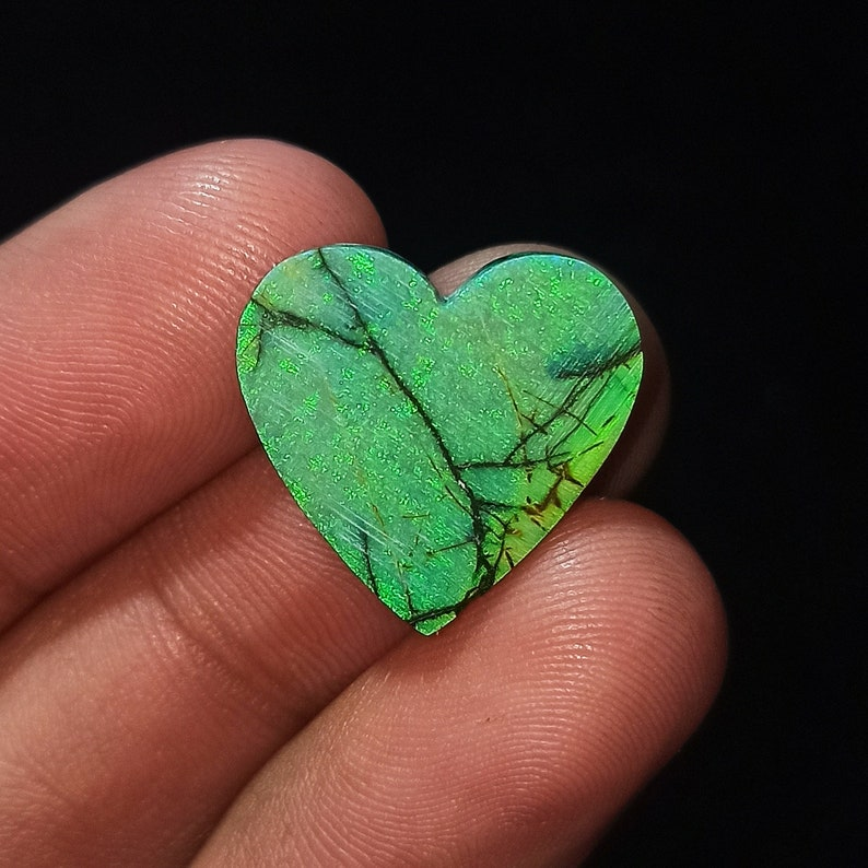 Natural Sterling Opal Cabochon  Top Monarch Opal Gemstone  Multi Color Very High Quality Heart Shape 7.5 Ct  19x19x4mm Loose Gemstone