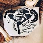 """Wolf Skeleton Decal """"Hunt, Howl, Hunger"""" - Werewolf, Loup Garou, Skull, Canine vinyl decal, bumper sticker for cars, laptops"""