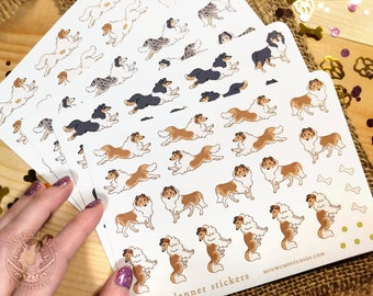 Rough Collie Planner Stickers - Cute Dog Sticker Sheet - Bujo Stationary