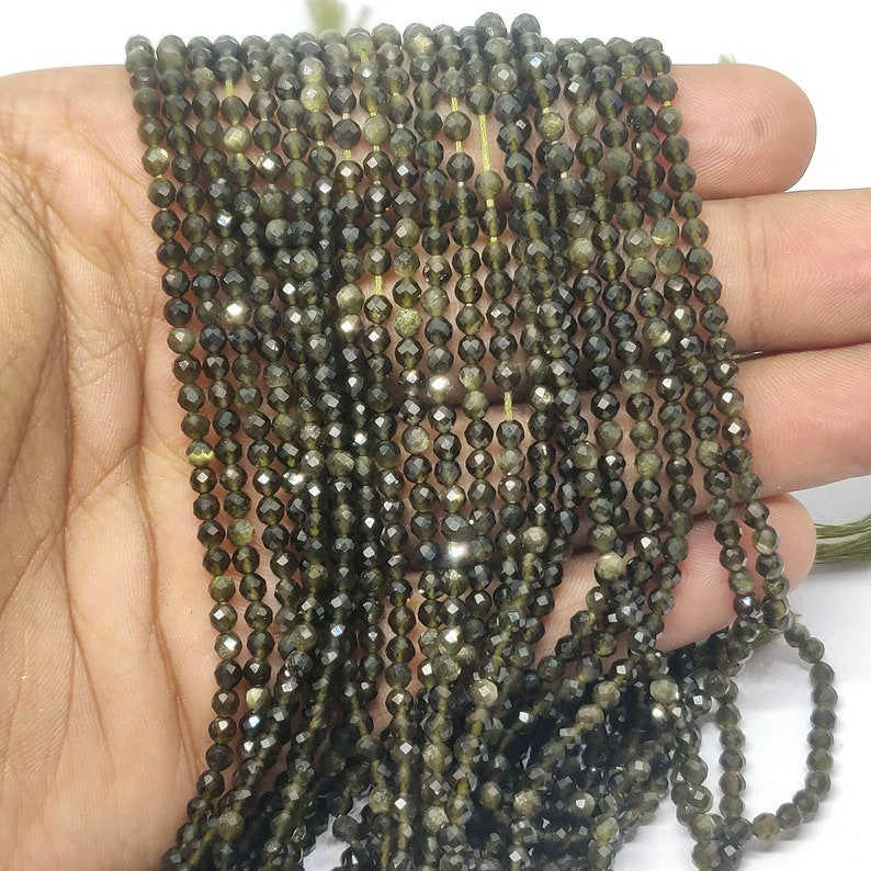 Gemstone beads 13 inch Strand Faceted round Beads jewelry making supplies AAA++ Green Cat/'s Eye Gemstone 3mm-3.5mm Faceted Round Beads