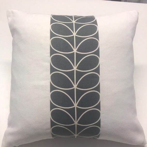 "Cushion Cover In Orla Kiely Dandelion Multi Linear Stems 18""x18"" Off White Back"