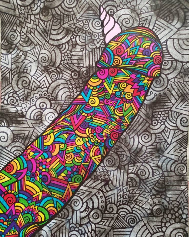 Trippy NSFW ooak adult zentangle SALE surreal erotic large 9x12 original fine art ink and watercolor painting The Unicorn
