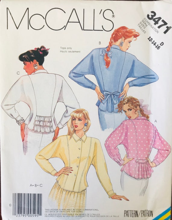 8722 UNCUT McCalls Vintage Sewing Pattern Misses Front Buttoned Shirt