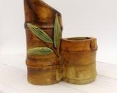 Bamboo Vase Pottery - Unique Double Vase Bamboo Pottery - Vintage Double Bud Vase