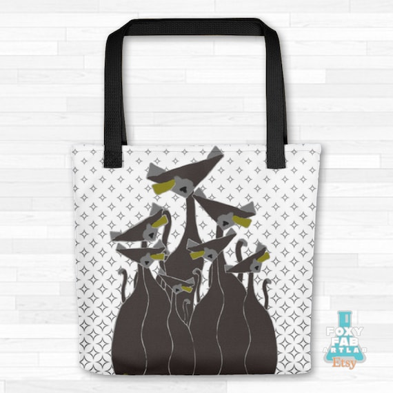 Seven Black Cats Named Lucky  Tote bag