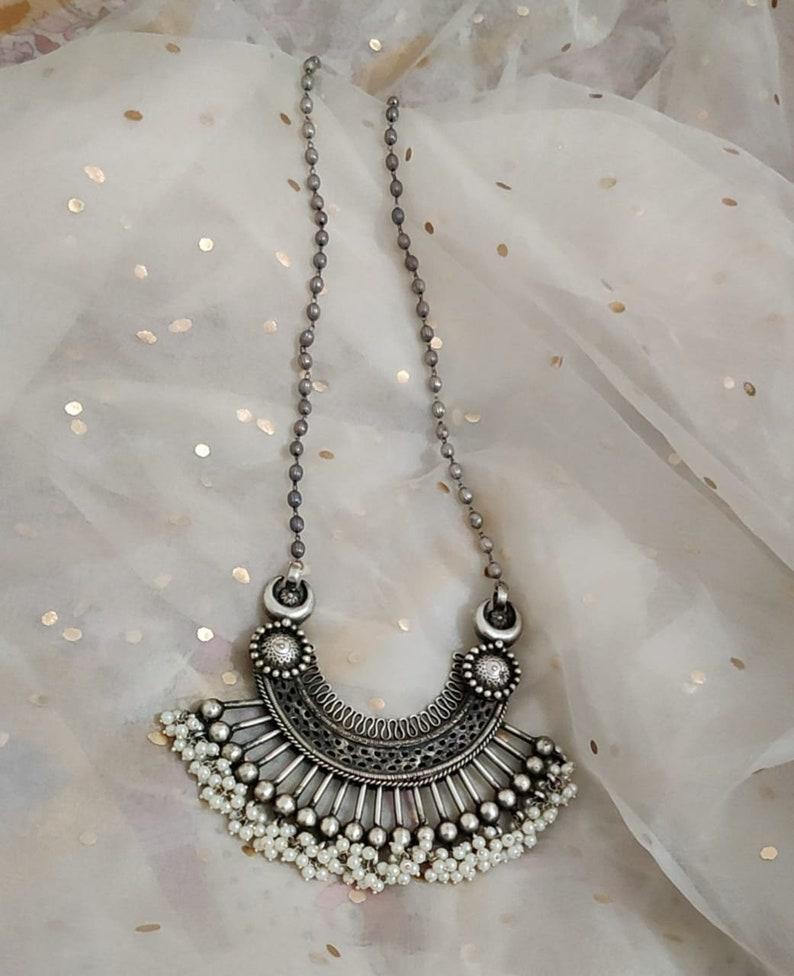 Indian Jewelry Silver looks Alike Big Pendant Set,Indian Jewelry,Trending Indian Necklace Big Pendant Long Tread set