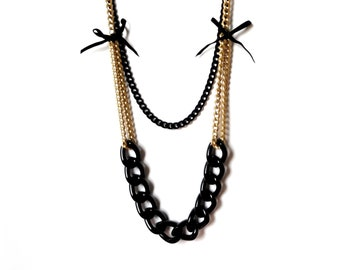 All Black thick long necklace Two Strand light weight bows Necklace Women/'s Black Necklace Chunky Gothic Black Chain necklace New Romantics