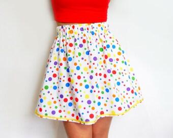 c6ab6d86a7 LGBTQ Rainbow Outfit. LGBT Rainbow Skirt. Rainbow Polka Dot Skirt. Gay  Pride Dress. Rainbow polkadot Skirt. Rainbow polkadot summer. LGBTQIA