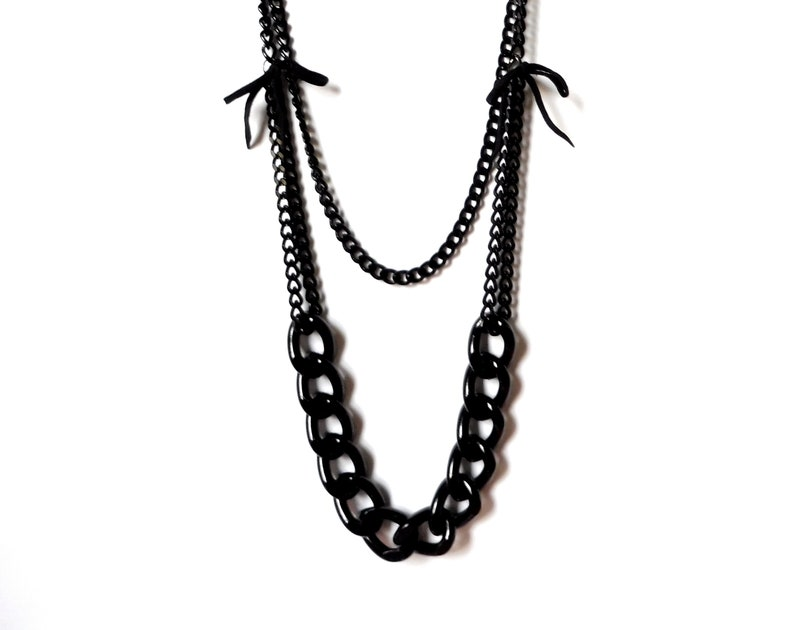 New Romantics All Black thick long necklace Two Strand light weight bows Necklace Women/'s Black Necklace Chunky Gothic Black Chain necklace