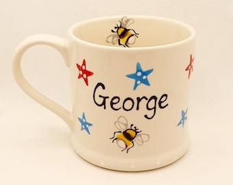 Handpainted - personalised Mug - Stars and Bee - Easter Mug  - Teacher Mug - Birthday Gift  - Christmas Mug  - Fathers Day Mug - Childs mug