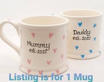 Mummy Mug - Daddy Mug - Est. - New Parents - New Mum - New Dad - Baby Shower Gift - New Baby Gift  - Handpainted  Mug  - Personalised
